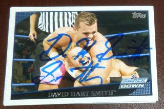 David Hart Smith Signed Autod 2009 Topps WWE Card 68 Dynasty