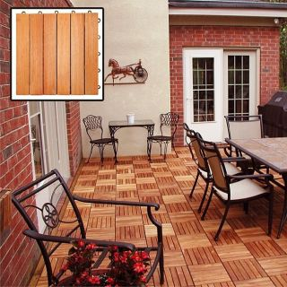 EZ Install Hardwood Click Togther Outdoor Patio Deck Tiles Box of 10