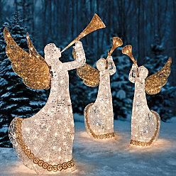 Outdoor Holiday Lighted Animated Christmas Trumpeting Angel Yard Art