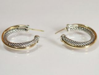 David Yurman 18KY Gold with Sterling Silver Small 3mm Crossover Hoop