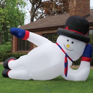 12 Foot Inflatable Sprawling Snowman Lighted Lawn Display Christmas