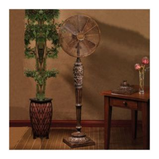 Style Decor Bronze Scrolls Decorative Standing Floor Fan New