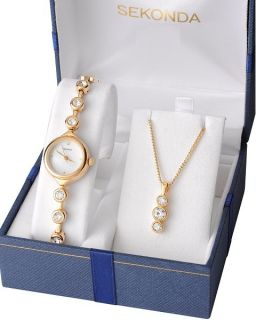 MOP Dial Stone Set Gold Plated Ladies Watch Pendant Gift Set 4238G