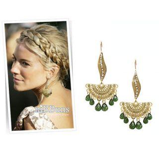 Fashion Gracious Fan Shape Green Dewdrop Earrings Earring