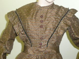 Civil War Victorian Dress Gown Silk Brocade w Maine Provenance