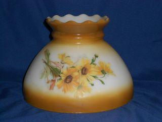 Hand Painted Glass Lamp Shade   8 diameter bottom   4.5 diameter top