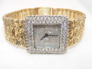 CARAT TOTAL WEIGHT DIAMOND 14K YELLOW GOLD MANS CUSTOM WATCH