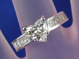 Ring EGL Certified 1.02 CT Heart Shaped Diamond Center H SI2
