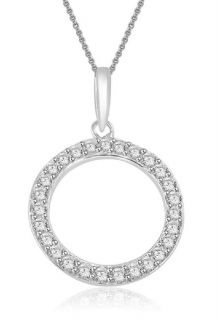 Circle Pendant Necklace Natural 0 45ctw Round Cut Diamond Jewelry 14k