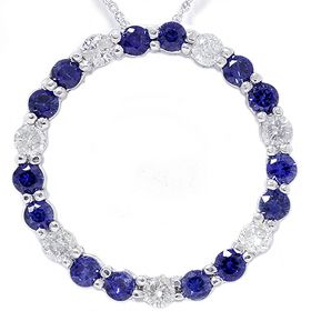 Round Blue Sapphire Diamond Circle Eternity Pendant White Gold