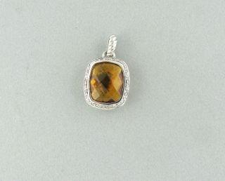 DAVID YURMAN NOBLESSE STERLING SILVER DIAMOND CITRINE PENDANT
