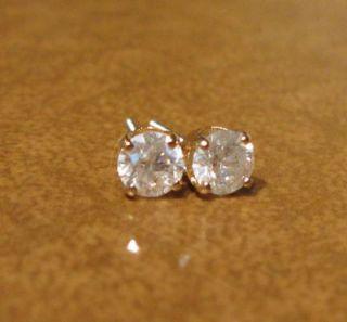 Diamond 66ctw Solitaire Stud 14k Yellow Gold Earrings