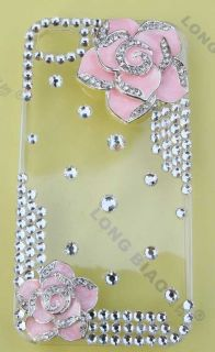 Quality flower Bling Diamond Crystal Case Cover for iPhone 4 4G 4S
