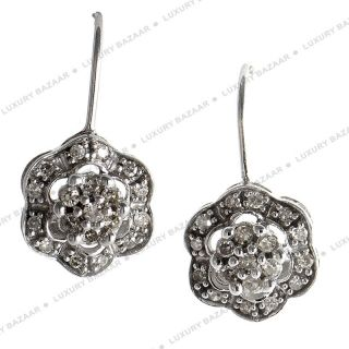 14k White Gold Diamond Flower Drop Earrings