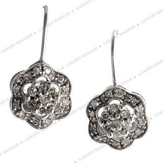 14k White Gold Diamond Flower Drop Earrings