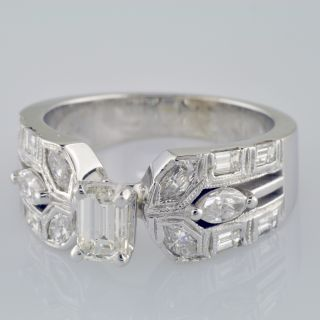 Diamond Engagement Ring with 1 97 Carat Emerald Cut in 14k White Gold