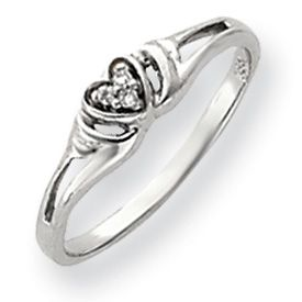 New 14k Gold or WG 0 03 Carat Diamond Heart Ring Available in Sizes 4