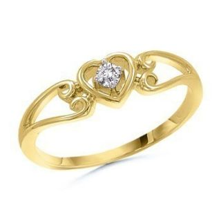 Round Natural Diamond Heart Promise Ring Size 3 13 10K Solid Gold Fine