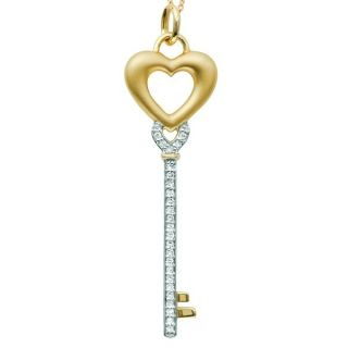 Diamond Heart Key Pendant Necklace 14k Two Tone Gold