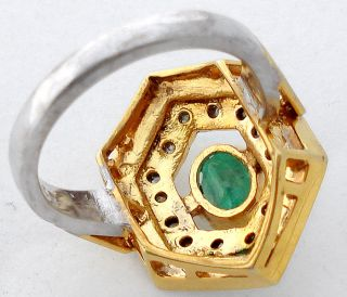 Emerald Enamel Natural Diamond Gold Sterling Silver Ring 1336
