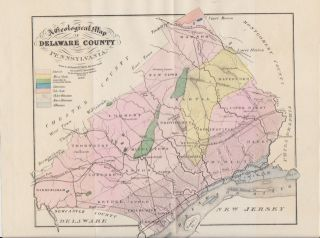 Delaware County Pennsylvania 1862 Geological Map Minerals Roads