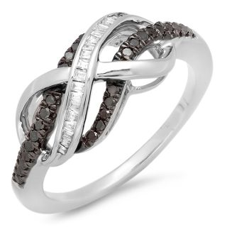 Silver Black White Diamond Ladies Swirl Infinity Two Tone Ring