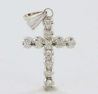 Vintage 14K White Gold Diamond Cross Pendant Fine Estate Jewelry