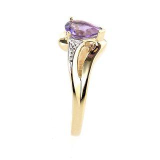 10K Yellow Gold Pear Shaped Amethyst Diamond Ring