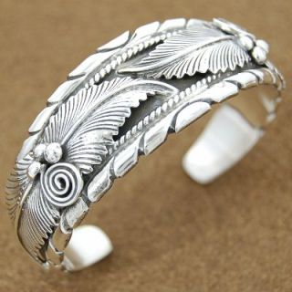 Exquisite Sterling Silver Feathers Womens Cuff Bracelet