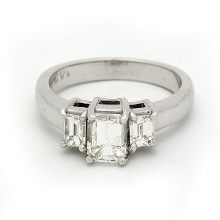 Diamond Engagement Ring 3 Stone 1 50 Carat Emerald Cut in 14K White