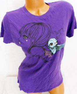 Delia s Jedidiah Purple Soft Emo No Looking Back Logo Fitted Tee