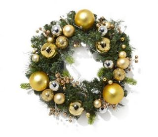 GOLD/SILVER Winter Lane Battery Operated 24 LED Wreath w/ Ornaments