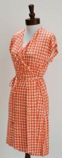 DVF Diane Von Furstenberg Mindy Wrap Dress 10 M $345 Silk Coral Check