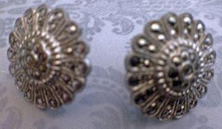 Vintage Art Deco Sterling Silver Earrings Marcasite Round 1 2 Screw
