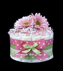 tier pink green baby shower diaper cake centerpiece