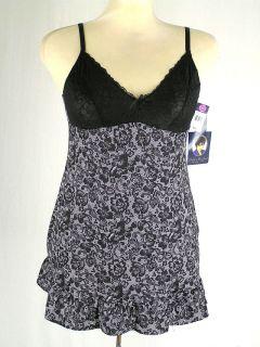 Delta Burke Lingerie Slip Nightgown Black White Lace