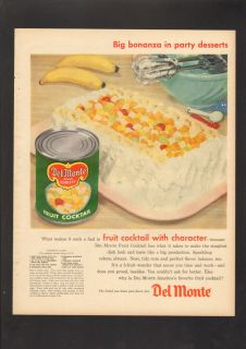1956 Print Ad Del Monte Fruit Cocktail Canned Banana Cake Bonanza
