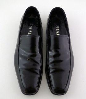Prada Mens High Gloss Black Leather Slip on Loafers Dress Shoes Sz 6