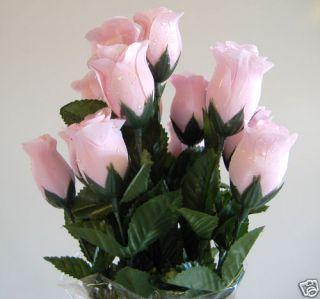 Artificial Silk Pink Raindrop Dew Drop Rose Bud Flower
