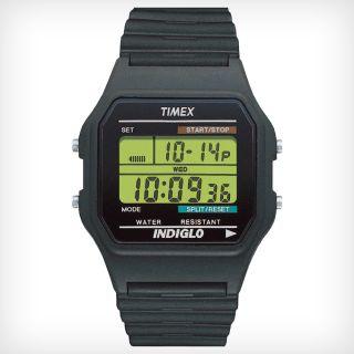 Timex T75961 Mens Digital Chronograph Green Digital Dial Black Strap