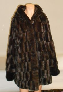 New Dennis Basso Reversible Textured Faux Fur Hooded Coat Chocolate