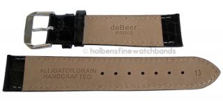 17mm Alligator Grain Black Leather deBeer Mens Watch Band Strap