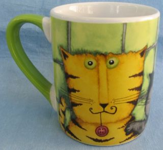tabby cat coffee mug cup debi hron gibson green new