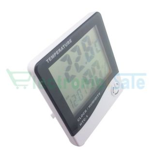 LCD Digital Alarm Clock Thermometer Temperature Time Humidity