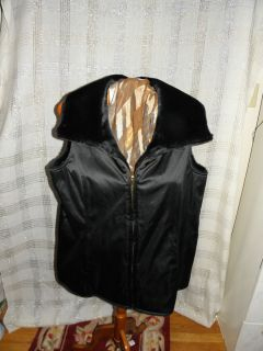 Dennis Basso Reversible Faux Fur to Water Reversible Zip Front Vest Sz