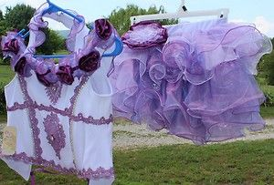 Little Girls Pageant Dress Pruple and White Cupcake Size 7 10