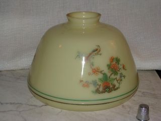 Vintage Custard Glass Lamp Shade w Chinese Oriental Floral Design