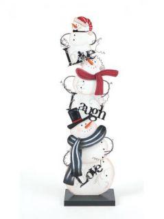 Live Laugh Love Stacked Snowmen Christmas Winter Decor