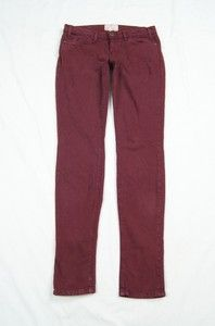 Current/Elliott Dark Burgundy The Skinny Stretch Jeans Size 0 / 26
