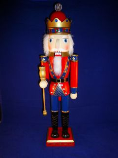 20 inch Decorative Wooden Nutcracker Blue Red with Scepter